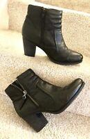 "Clarks Artisan Ankle Boots Uk6 Women's Black Soft Grain Leather 2.75"" Block Heel"