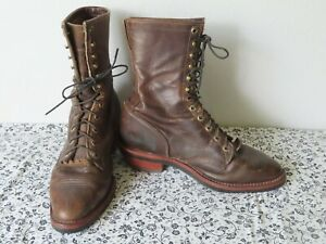 """Chippewa 10"""" Crazy Horse Packer Western 29406 Mens 10.5 D Leather Lace Up Boots"""