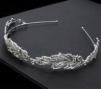 Women Silver Crystal Leaf Feather Party Hair Head Band Headband Hoop headpiece