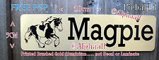 Stable door sign plaque PIEBALD COB Printed Brushed Gold Ali Clear Mane and Tail