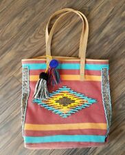 Sam Edelman bag purse tote southwestern beaded large cowgirl tassels pompom