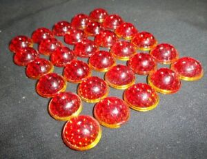 (30) RED Glass Sign REFLECTOR JEWELS BEADS Smooth Bubble Top LIKE CATS EYE