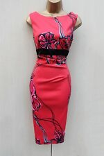 Exquisite Karen Millen 12 UK Satin Red Floral Wiggle Cocktail Races Pencil Dress