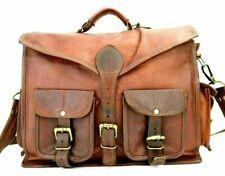 Genuine Leather Canvas Adult Satchel Shoulder Messenger Laptop Bag Vintage