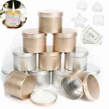 12 Pack Round Empty Tin with Slip-on Lids 4Pcs Plastic Candle Cans for DIY Craft