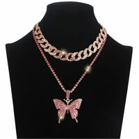 Butterfly Necklace Set Cuban Link Chain Choker Butterfly Chains Bling Pendant
