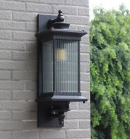 Vintage Large Metal Lantern Ribbed Glass Outdoor Gate Wall Lights Sconces IP65