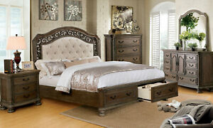 Traditional Natural Brown 5 pieces Bedroom Set w/ King Fabric Storage Bed CA1
