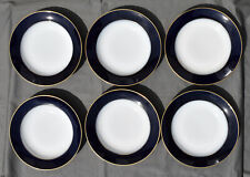 6 assiettes creuses en porcelaine de Limoges Raynaud Bleu de Four / filet or