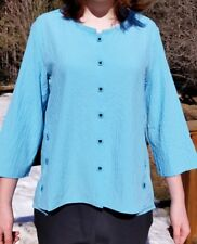 New HABITAT small blue HIGH LOW  Small Jacket blouse button down