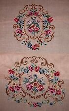 EP 4197 Vintage Floral Rose 2pc Chair Seat Set Preworked Needlepoint Canvas