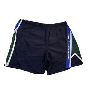 Speedo Mens Vintage 90s Swim Trunks Size XL Black & Green Drawstring Waist Lined