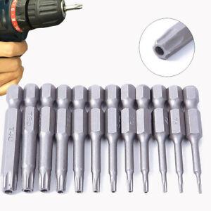 12PCS 50mm T5-T40 Torx Head Screw Bits Driver Set Kit Tools 1/4 Inch Hex Shank