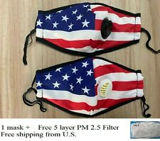 American Style - USA Flag Face Mask With Breathing Valve + Free PM 2.5 Filter ✅