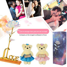 Galaxy Gold Foil Rose Artificial Forever Flowers with Love Base Stand+Bear