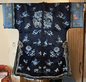 Antique Chinese Qing Dynasty Silk Hand Embroidered Robe With Sleeve Band