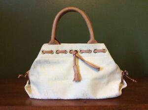 Dooney & Bourke Mini Duffle Bag Cream Tan Leather Straps