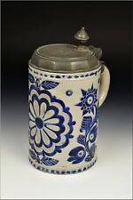 Carved 18th Century Westerwald Grey & Blue German Stoneware Stein w/ Pewter Lid