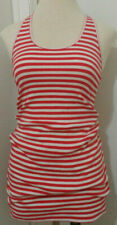Vintage Esprit Sport Medium Cotton Red White Striped Snap Back Dress Sleeveless