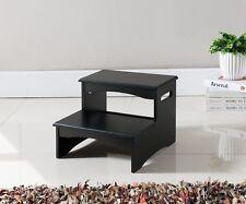 Kings Brand Furniture Black Finish Wood Bedroom Step Stool  ~New~