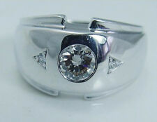 0.52 Cttw Round Cut Solitaire Men's Wedding Ring 14K Solid White Gold