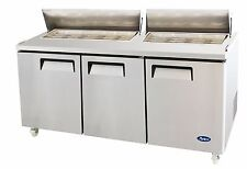 "ATOSA USA MSF8304 STAINLESS STEEL SANDWICH PREP TABLE 72"" 3-DOOR REFRIGERATOR"