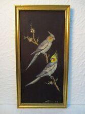 """Peinture sur tissu """"Calopsittes grises"""" signé H. Ferrier"""