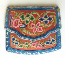 ANTIQUE CHINESE SILK EMBROIDERED PURSE POUCH FLOWERS PERSIMMON RED