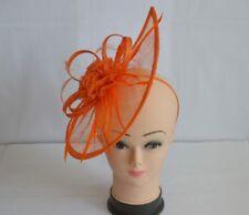 Large Orange Headband & Clip Hat Fascinator Weddings Ladies Day Race Royal Ascot