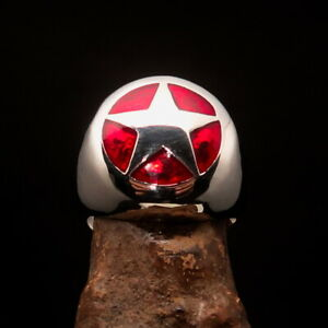 Perfectly crafted Men's Ranger Ring red Marshal Sheriff Star - Sterling Silver