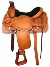 16 Basketweave Tooled Circle S Roping Saddle With Suede Leather Seat