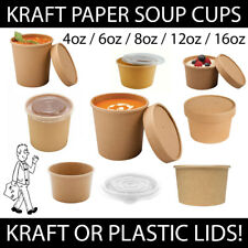 More details for brown kraft soup cups pots with lids recyclable hot cold food takeaway