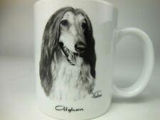 Afghan Hound Dog Coffee Cup White Mug Porcelain By Rosalinde
