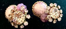 Miriam Haskell Signed Baroque Amethyst +Crystal Clip On Earrings 1950's Vintage