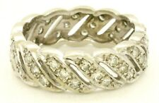 Vintage 14K white gold 1.05CT VS diamond eternity band ring size 7.5