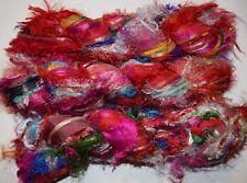 FREE S&H 100g Sari Silk Ribbon craft ribbon yarn, jewelry making Fluffy RUBY