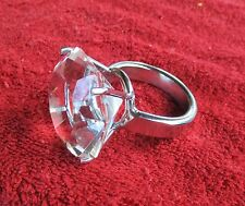 LARGE CLEAR FAUX DIAMOND NAPKIN RING HOLDERS