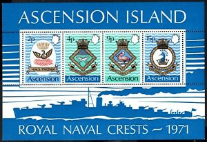 (Ref-14463) Ascension 1971 Royal Navy Crests (3rd Series)  SG.MS153 Mint (MNH)