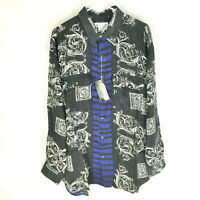 GOOUCH Mens Large Long Sleeve Shirt Silk Button-Up 90s Abstract Art NWT VTG L