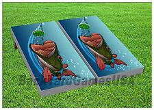 VINYL WRAPS CORNHOLE BEANBAG Boards DECALS Bass Fishing Fans Cartoon Set 915