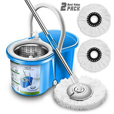 360 Spin Mop Bucket Cleaning System Set Floor Cleaner Home Kit Microfiber Heads