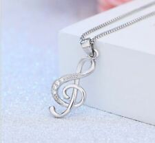 925 Sterling Silver Musical Note Pendant Chain Necklace Womens Jewellery Gift UK