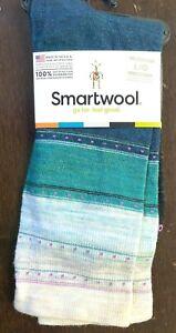 "Smartwool Sulawesi Stripe Socks Merino Wool Crew Socks ""Deep Marlin""  Size Large"