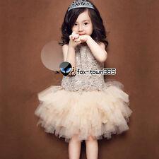 Summer Kids Girl Princess Baby Child Party Dressy Gold Lace Tutu Vest Dress 2-8Y