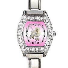 Poodle Dog CZ Ladies Stainless Steel Italian Charms Bracelet Wrist Watch BJ1105