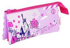 "Helix Rawsharc Pencil Case Girls Pink - ""City Sights Design"" - Triple Pocket"