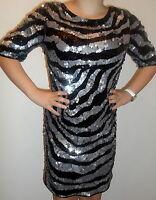 BNWT❤️NEXT ❤️Size 8 Black Silver Zebra Sequin Dress £90 Evening~party(36 EU) 4US