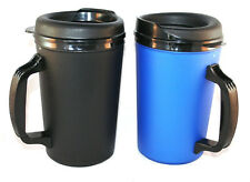 2 Foam Insulated 20oz ThermoServ Travel Mugs Black Blue