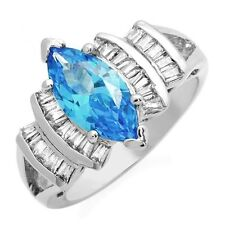 Blue Clear CZ Cocktail Ring (color of blue topaz)  .925 Sterling Silver Sz 7 ss