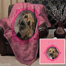 Personalised Pink Dog Pet Photo Design Soft Fleece Blanket Cover Animal Throw